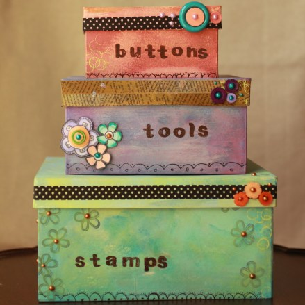 Craft room organization cool stacked square boxes for Cool crafts for your room