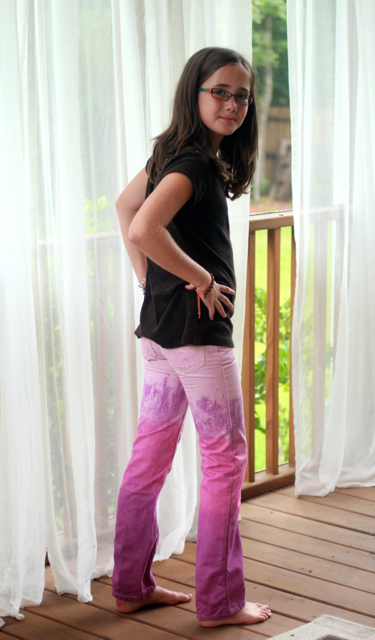 Front view Rit Dip Dyed Jeans Upcycled Pink and Purple Pants