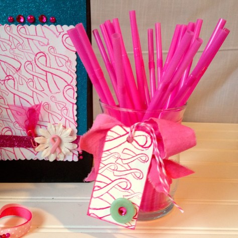 Pink ribbon of hope party gift tag BCA