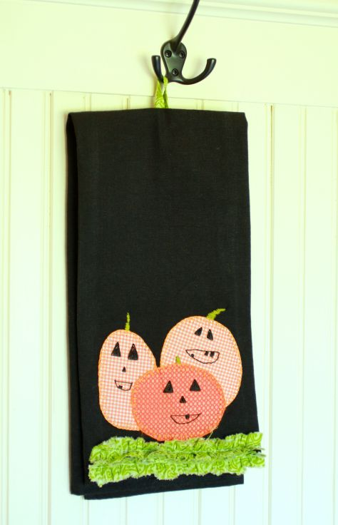 Pumpkin applique tea towel halloween