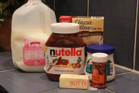 ingredients for nutella cake bars