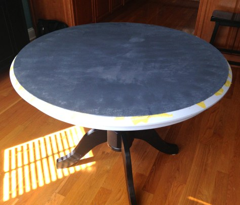 chalky paint on surface of table