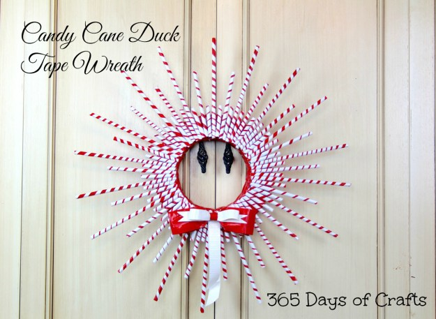 Candy Cane Inspired Duck Tape Wreath