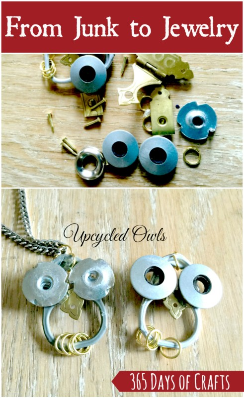 Turn junk into jewelry with upcycled owl necklace