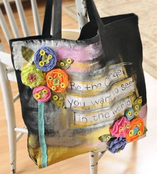 Journaled Tote Bag with rosette flowers and instructions