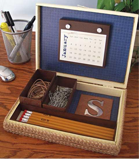 Dad 39 s cigar box desk set 365 days of crafts inspiration for Cigar boxes for crafts