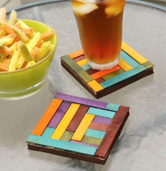 dyed wood coasters