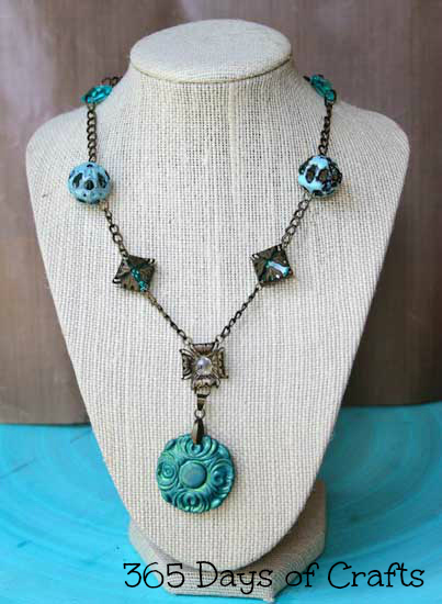 cool hues autumn necklace vintage inspired