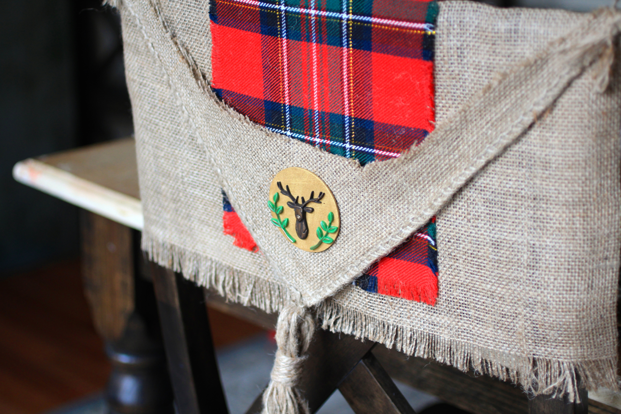 christmas chair covers tall bean bag rustic plaid