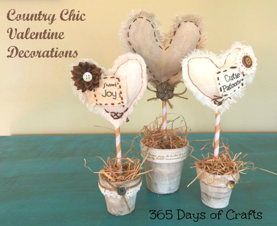 muslin heart trio - country chic valentine