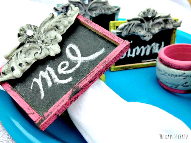 diy Chalkboard napkin rings craft idea