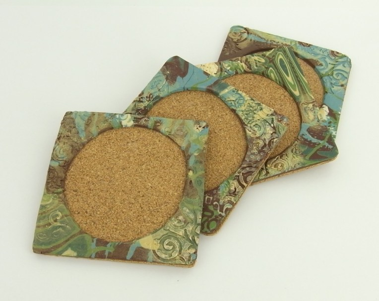 mokume gane polymer clay coasters