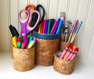 faux cork polymer clay desk organizer made from soup cans