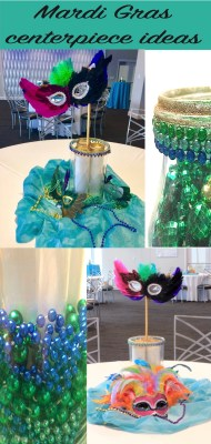 mardi gras centerpiece ideas with beads and masks