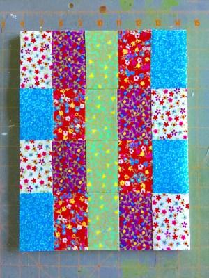 scrap fabric mug rug top