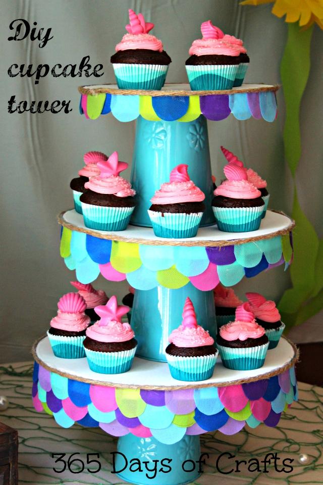 Diy Mermaid Themed Cupcake Tower 365 Days Of Crafts