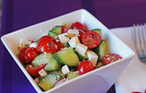 Healthy Tomato Cucumber Feta Cheese Salad for summer time | 365 Days of Easy Recipes