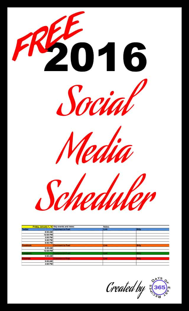 Download a FREE 2016 Social Media Scheduler