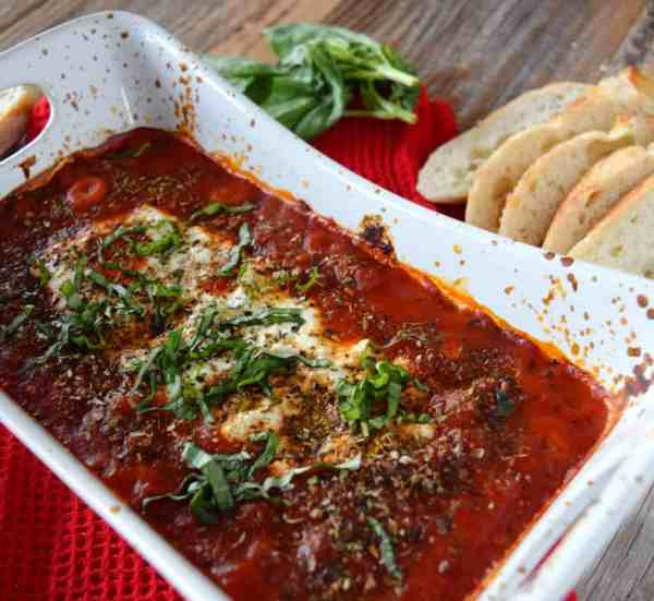 Baked Goat Cheese Dip in Marinara Sauce