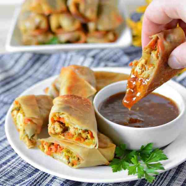 Baked Chicken Napa Cabbage Spring Rolls