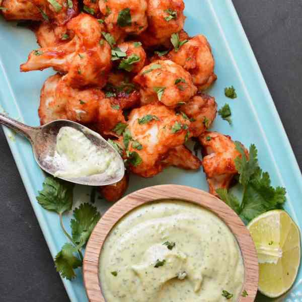 Sticky Chipotle Cauliflower Wings with Avocado Dressing