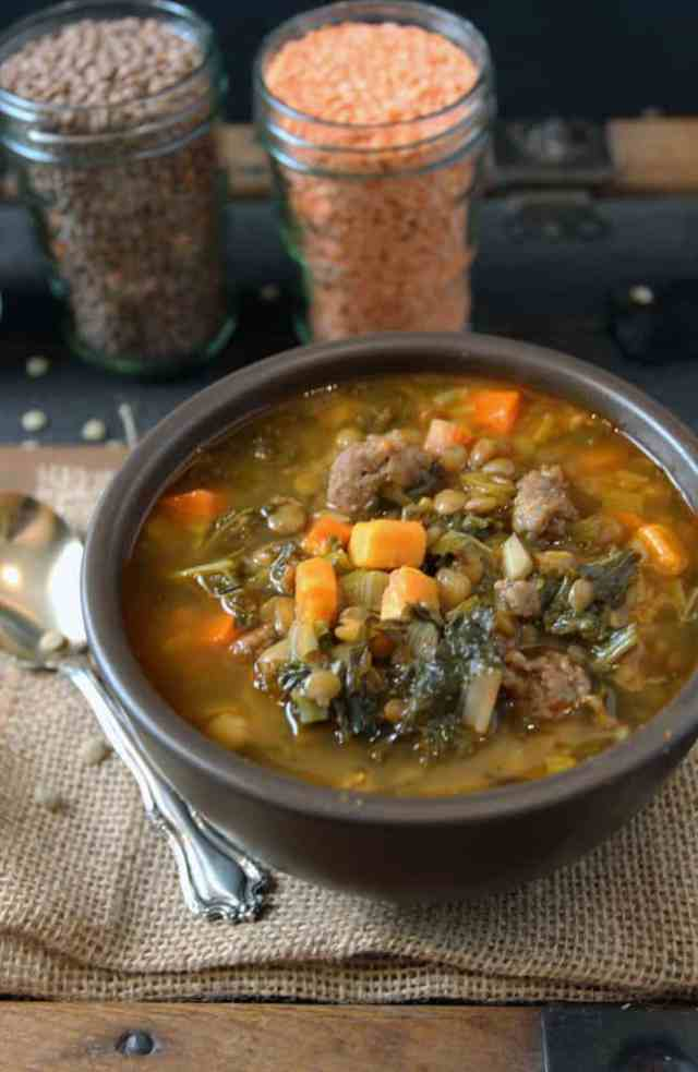Delicious Lentil Soup with Kale and Sausage