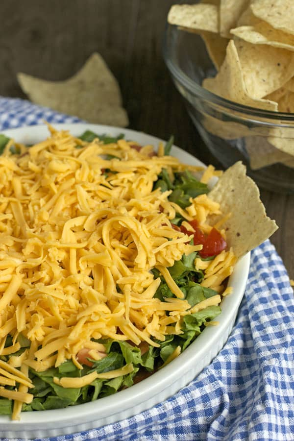 This 7 layer nacho dip is the ultimate easy party appetizer: spring, summer, fall or winter. Layers of cream cheese, salsa, cheese and veggies. It's sure to be a hit   365 Days of Easy Recipes