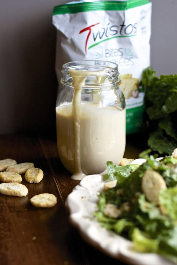 This eggless Caesar Salad Dressing recipe is so delicious! The perfect addition to any pasta dinner, BBQ or potluck dinner | 365 Days of Easy Recipes