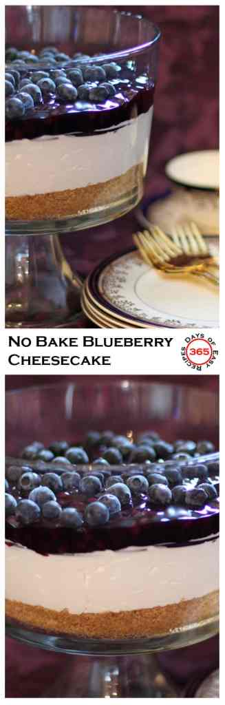 My mom's No Bake Blueberry Cheese Cake. Light, fluffy and oh so delicious!! Not to mention easy. | 365 Days of Easy Recipes