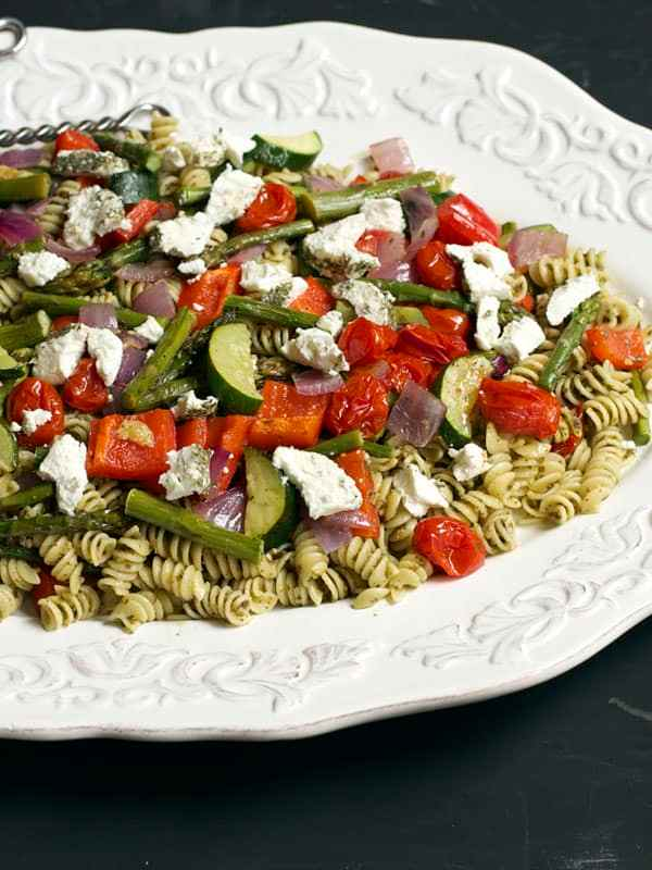 A delicious Pasta Salad with roasted vegetables and goat cheese that can be served as a side dish or as the main course for dinner | 365 Days of Easy Recipes