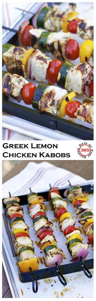 These Greek Lemon Marinated Chicken kabobs make a delicious BBQ recipe. Love how you can marinate in the chicken while in the freezer or the same day in the fridge. | 365 Days of Easy Recipes