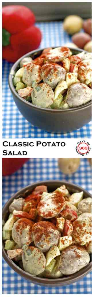 This Classic Potato Salad makes for the perfect summer potluck dish or BBQ side dish . A delicious summer recipes | 365 Days of Easy Recipes