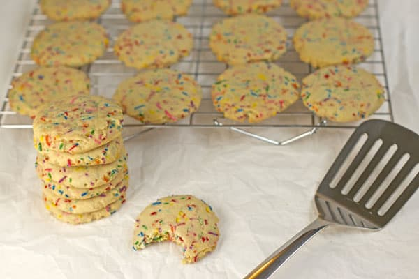 Rainbow confetti sugar cookies make the perfect fun school treat. So festive, you could make them as a birthday cookie | 365 Days of Easy Recipes