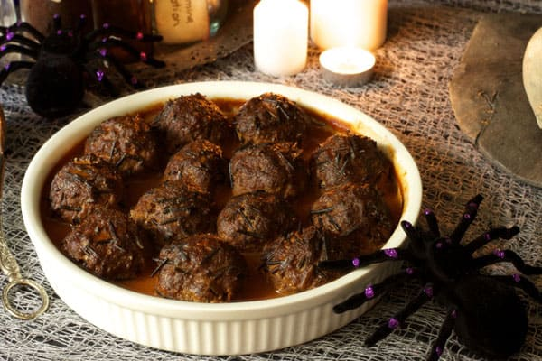 These arachnid balls were inspired by Harry Potter, more commonly known as porcupine meatballs | 365 Days of Easy Recipes