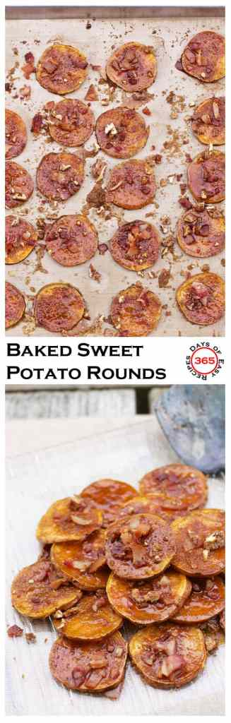 These Baked Sweet Potato Rounds with Bacon and Candied Pecans make a delicious Thanksgiving dinner appetizer | 365 Days of Easy Recipes