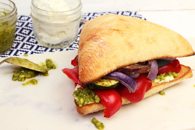 Grilled Vegetable Sandwiches with Goat Cheese & Pesto | 365 Days of Easy Recipes
