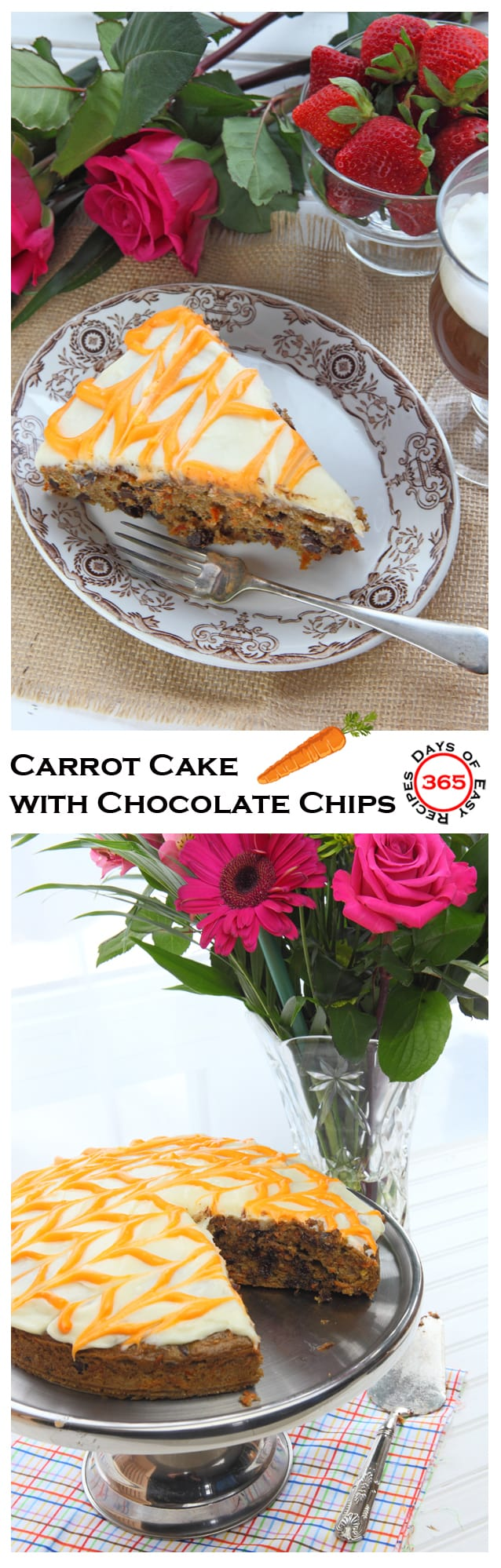 An easy Chocolate Chip Carrot Cake recipe, perfect for Easter | 365 Days of Easy Recipes