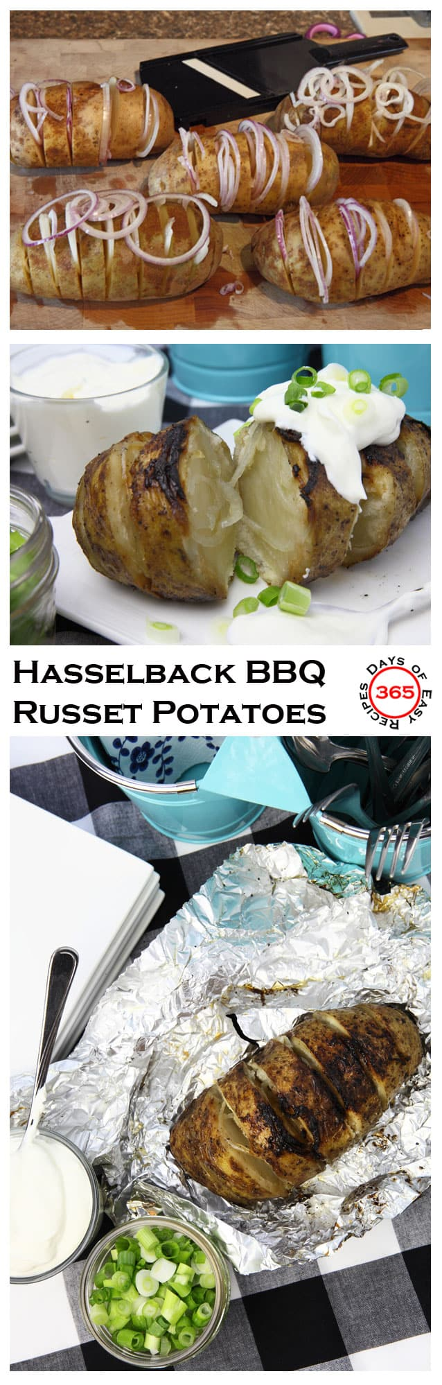 Plan a Baked Potato Bar for your next backyard BBQ and serve up these fun Hasselback BBQ Russet Potatoes