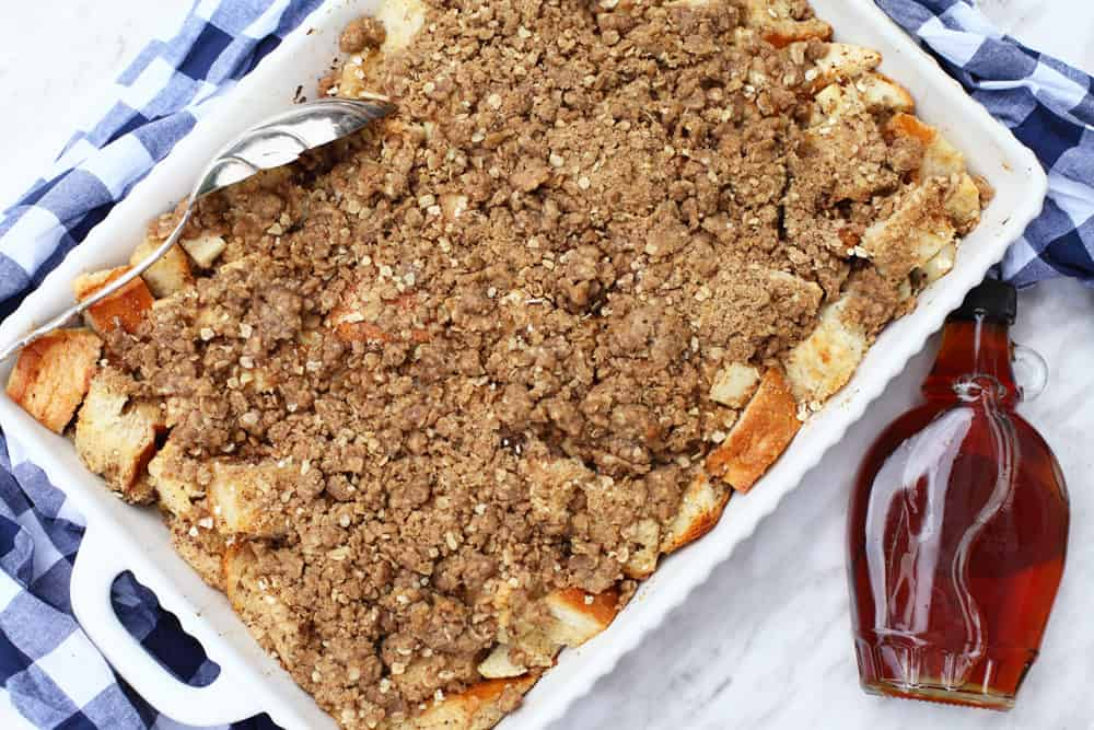 Apple Crumble Pie Baked French Toast - the perfect overnight breakfast for Christmas morning or for those lazy weekends