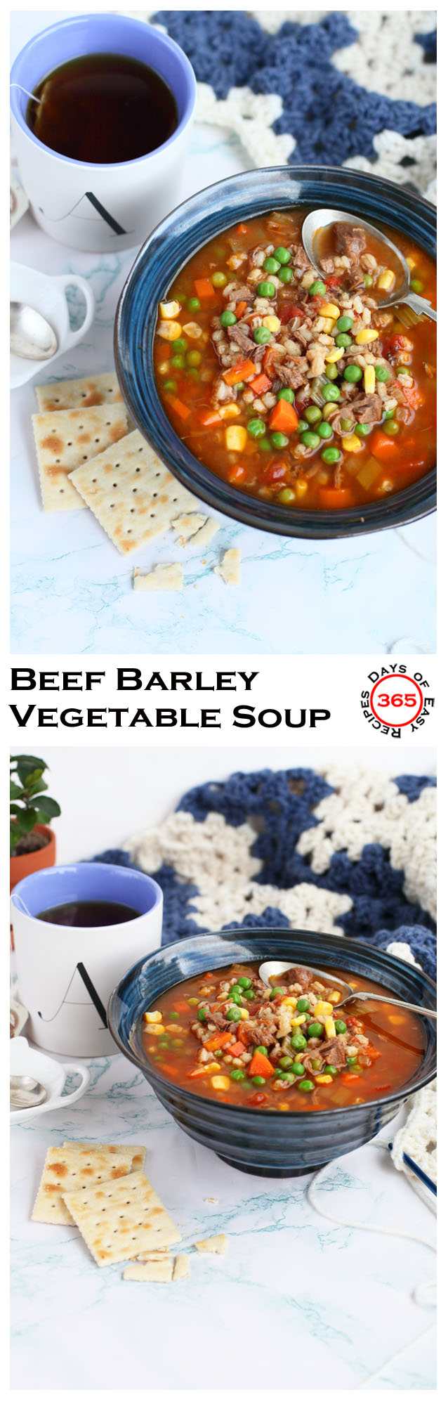 Beef Barley Vegetable Soup is a delicious hearty soup that's perfect for lunch or dinner. It's a great way to use up leftover beef from yesterday's roast and stocking your fridge with easy, grab and go meals during the week. Cooked on the stove or in the slow cooker, this soup will become a staple in your home