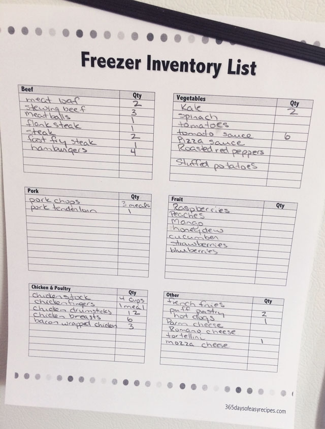 I fill out this Freezer Inventory List after cleaning my freezer. This printable template is available with the 30 Days of Meal Planning ebook.
