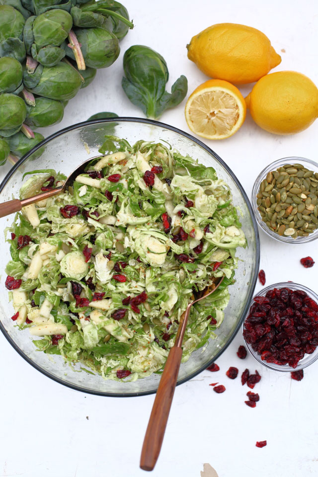 Brussel sprout salad in glass bowl