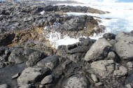 Water rushing in to the tide pools.