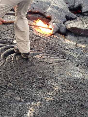 There were other groups of hikers that ended up where we were that had sticks to poke the lava. Sticking a stick in the lava is disrespectful to the Hawaiian culture and Pele (Goddess of Fire). However, it's still amazing to see it catch on fire.