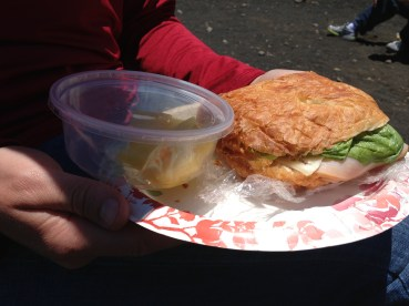 Lunch: turkey sandwich, pineapple and chips.