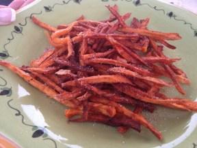 Sweet potato fries with cinnamon, sugar, salt and pepper.