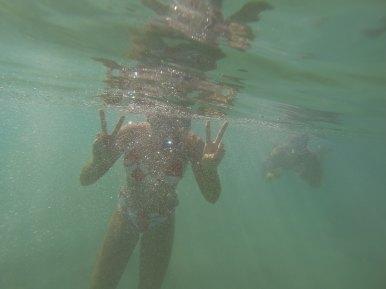 Bailey and Kyle preparing to snorkel!