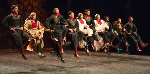 Al-Raja Dabke Troupe takes the stage at the Ramallah Cultural Palace for their spring 2012 performance–a spectacular display of strength and delicacy. Photo © ELCJHL/Rev. Elizabeth McHan
