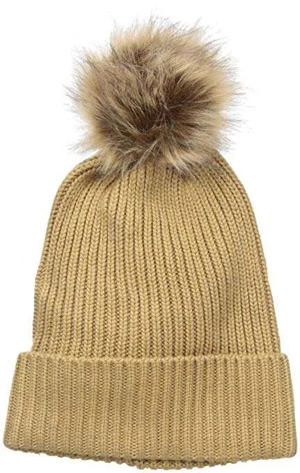 Badgley Mischka Women's Rib Knit Beanie with Faux Fox Pom
