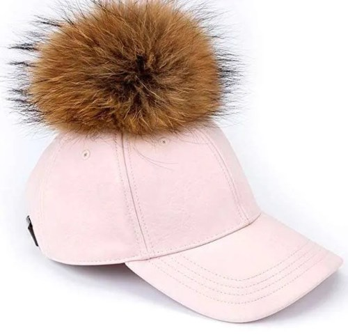 FURTALK Large Real Fur Pom Pom Baseball Cap - Pink